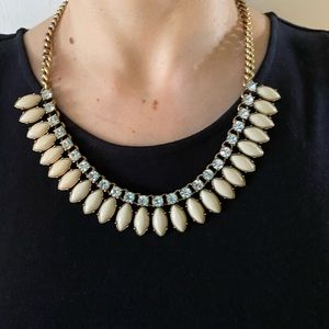 J.crew classic white and gold necklace with gems
